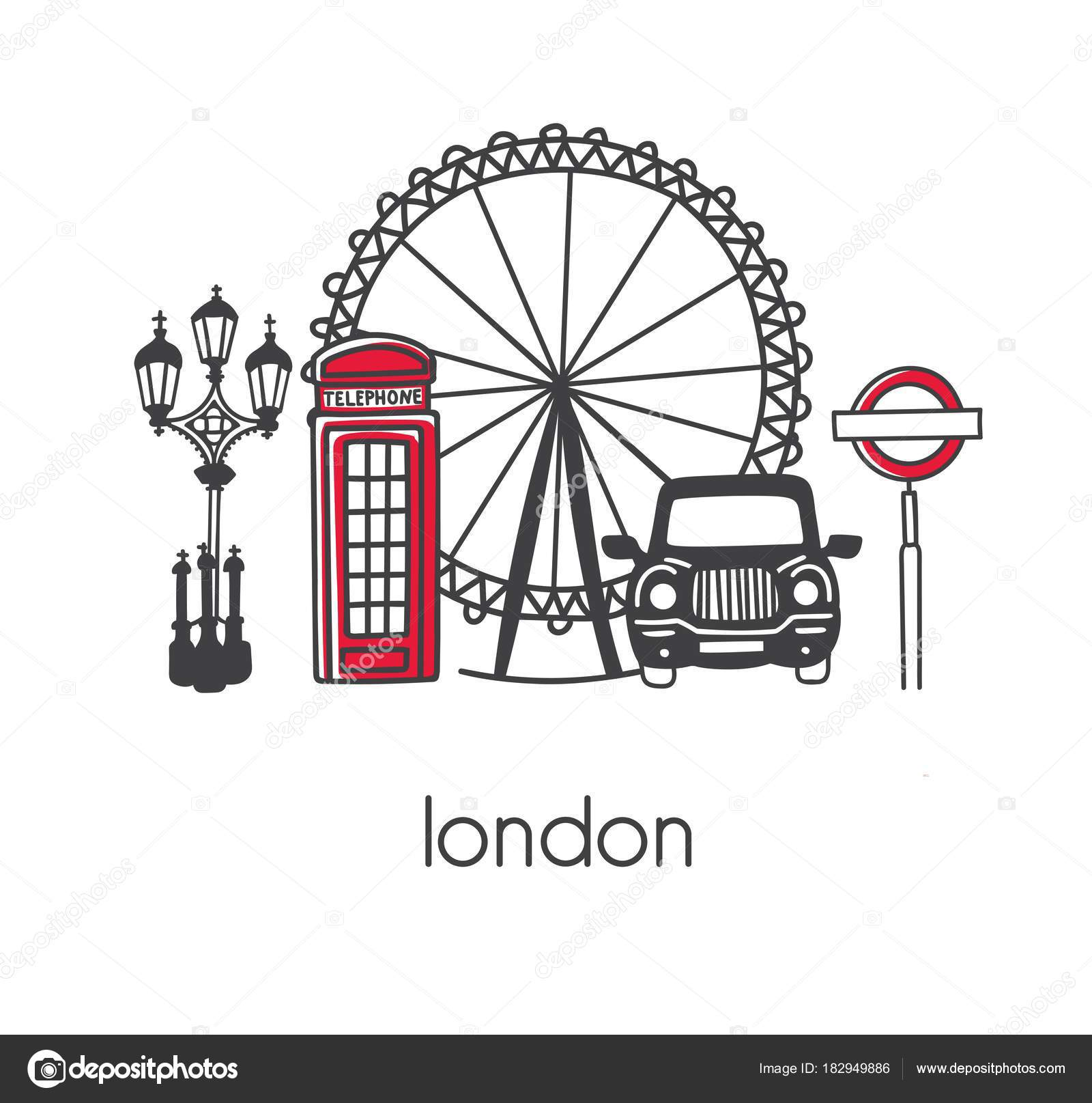 Modern vector illustration london hand drawn doodle english modern vector illustration london with hand drawn doodle english symbols telephone box observation wheel street lamp and sign taxi biocorpaavc