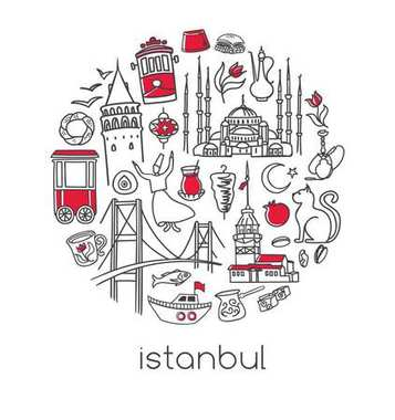 Modern vector illustration Istanbul with circle composition of hand drawn turkish symbols. Black outline doodle elements isolated on white. City tourism design conception Simple minimalistic style.