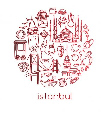 Modern vector illustration Istanbul with circle composition of hand drawn turkish symbols. Outline doodle elements with red gradient. City tourism design conception. Simple minimalistic style.