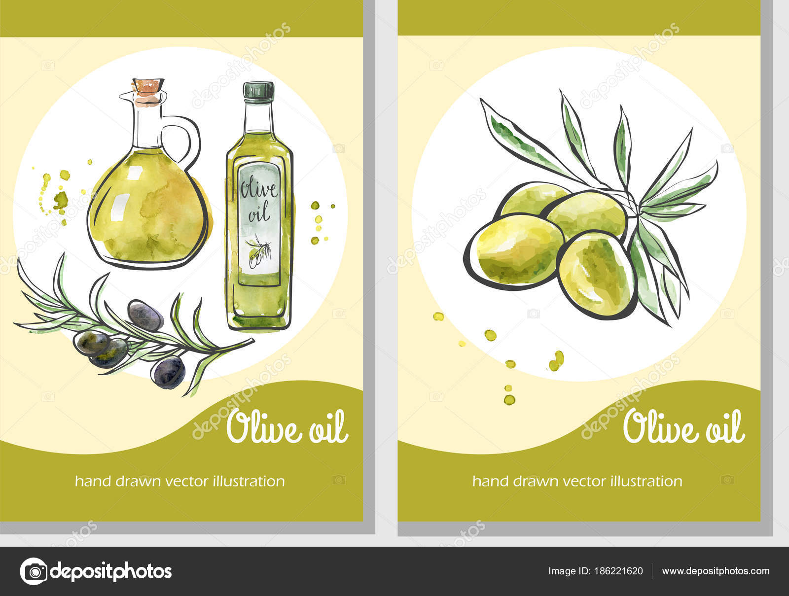 Vector Set Flier Templates Olive Oil Hand Drawn Olives Glass — Stock ...