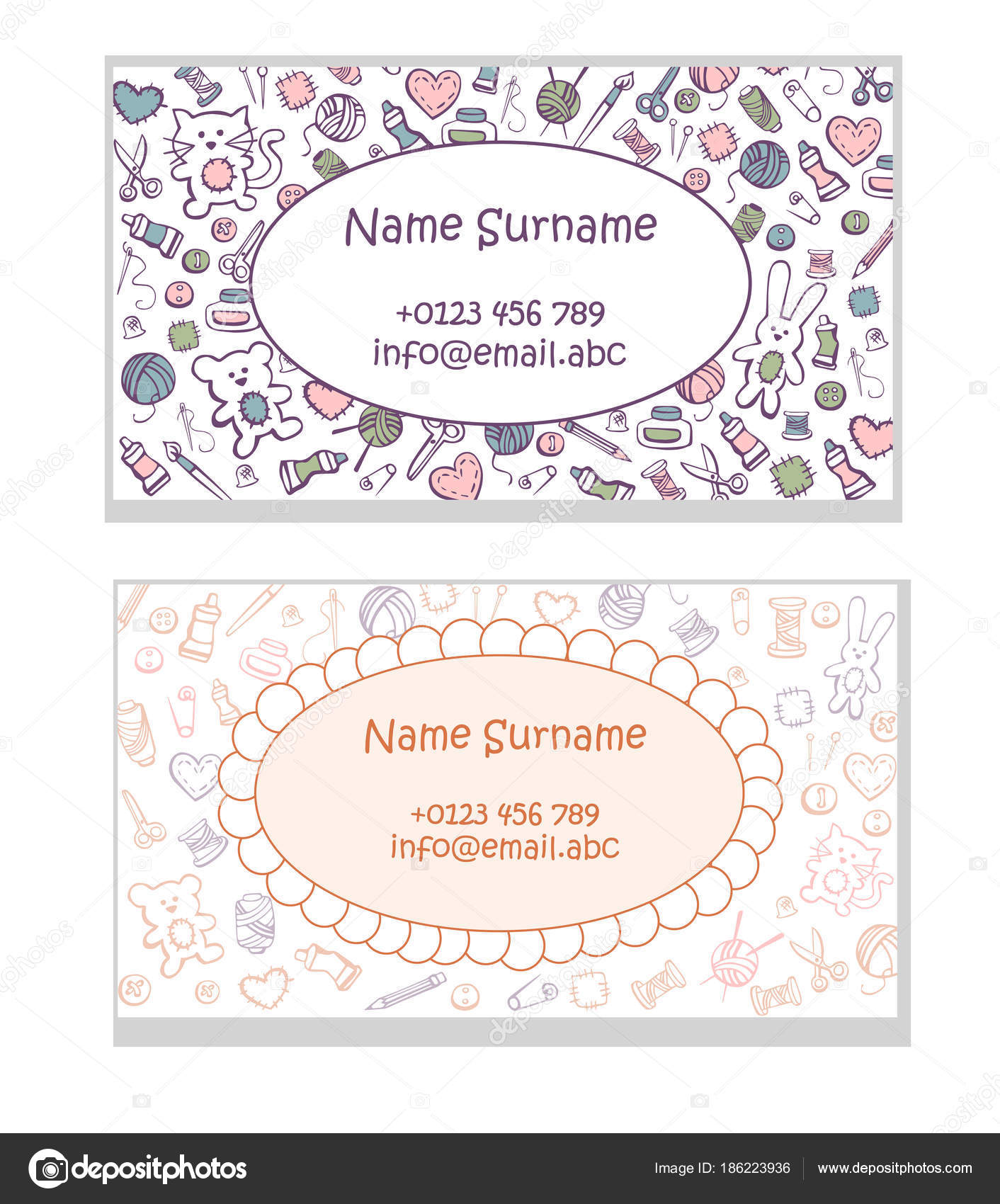 Set Business Card Templates Hand Made Toys Cute Pattern Doodles ...