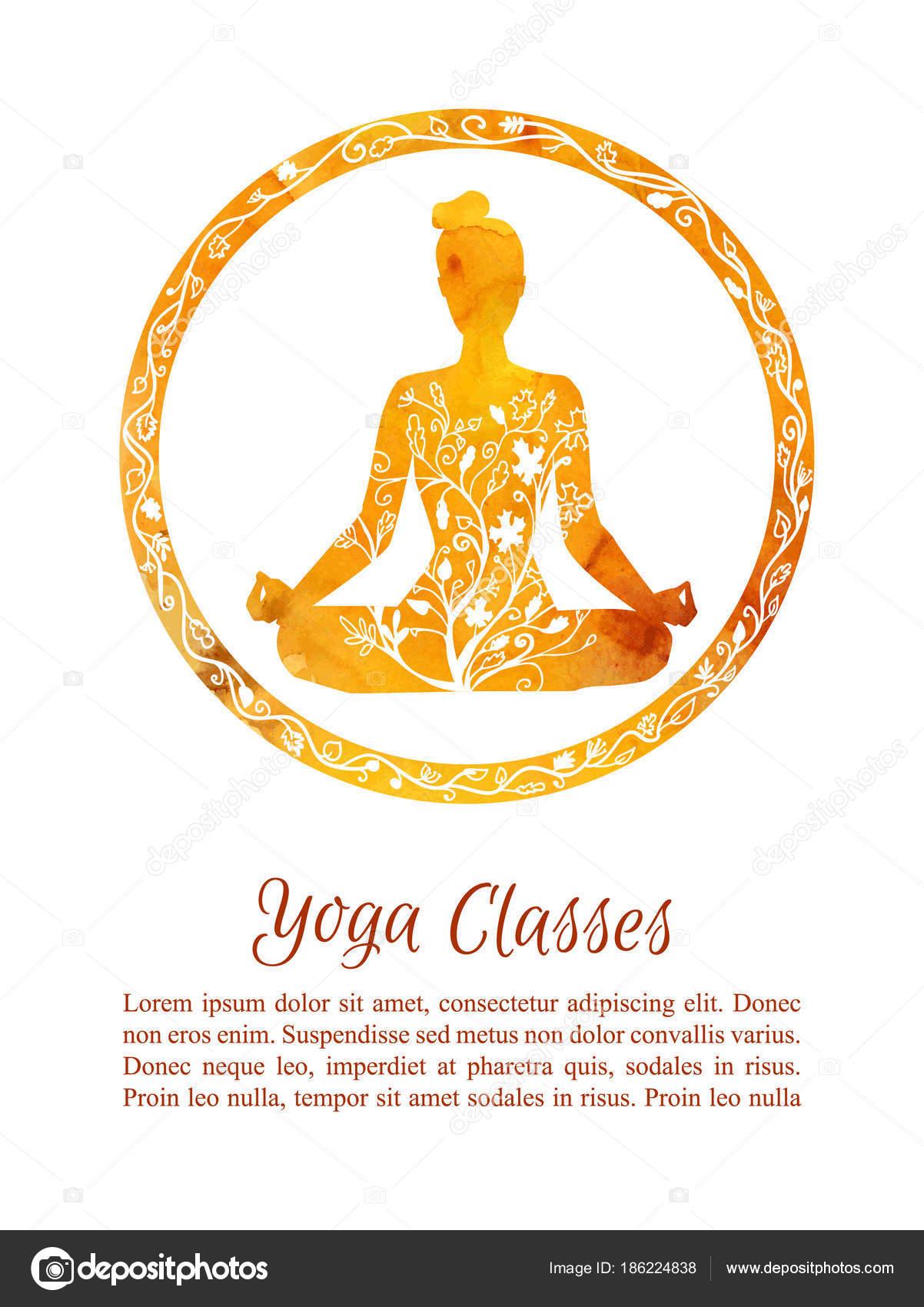 Tarjeta Volante Plantilla Otoño Clases Yoga Ilustración Vector Con ...