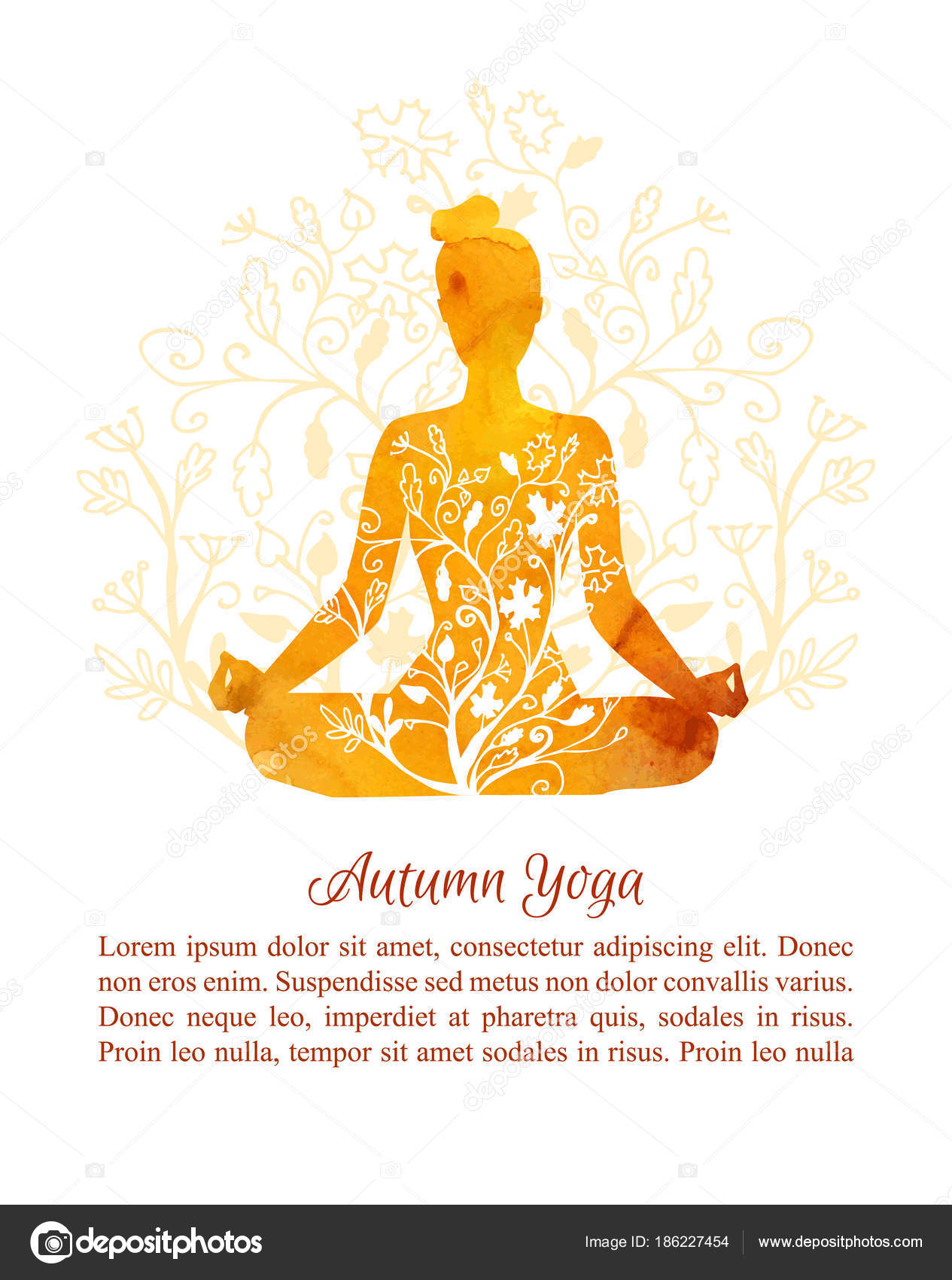 Card Poster Flyer Template Autumn Yoga Classes Vector Illustration Silhouette Stock