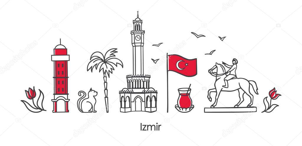 Vector Illustration Symbols Of Izmir Turkey Clock Tower Historic Elevator Monument National Flag And Other Turkish Landmarks Horizontal Banner Design For Souvenir Print And City Promotion Premium Vector In Adobe Illustrator