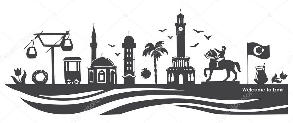 Vector Illustration Izmir Landmarks Famous Turkish Symbols Travel To Turkey Concept Black City Silhouette Horizontal Banner Design With Doodle Elements Basic Rgb Premium Vector In Adobe Illustrator Ai Ai