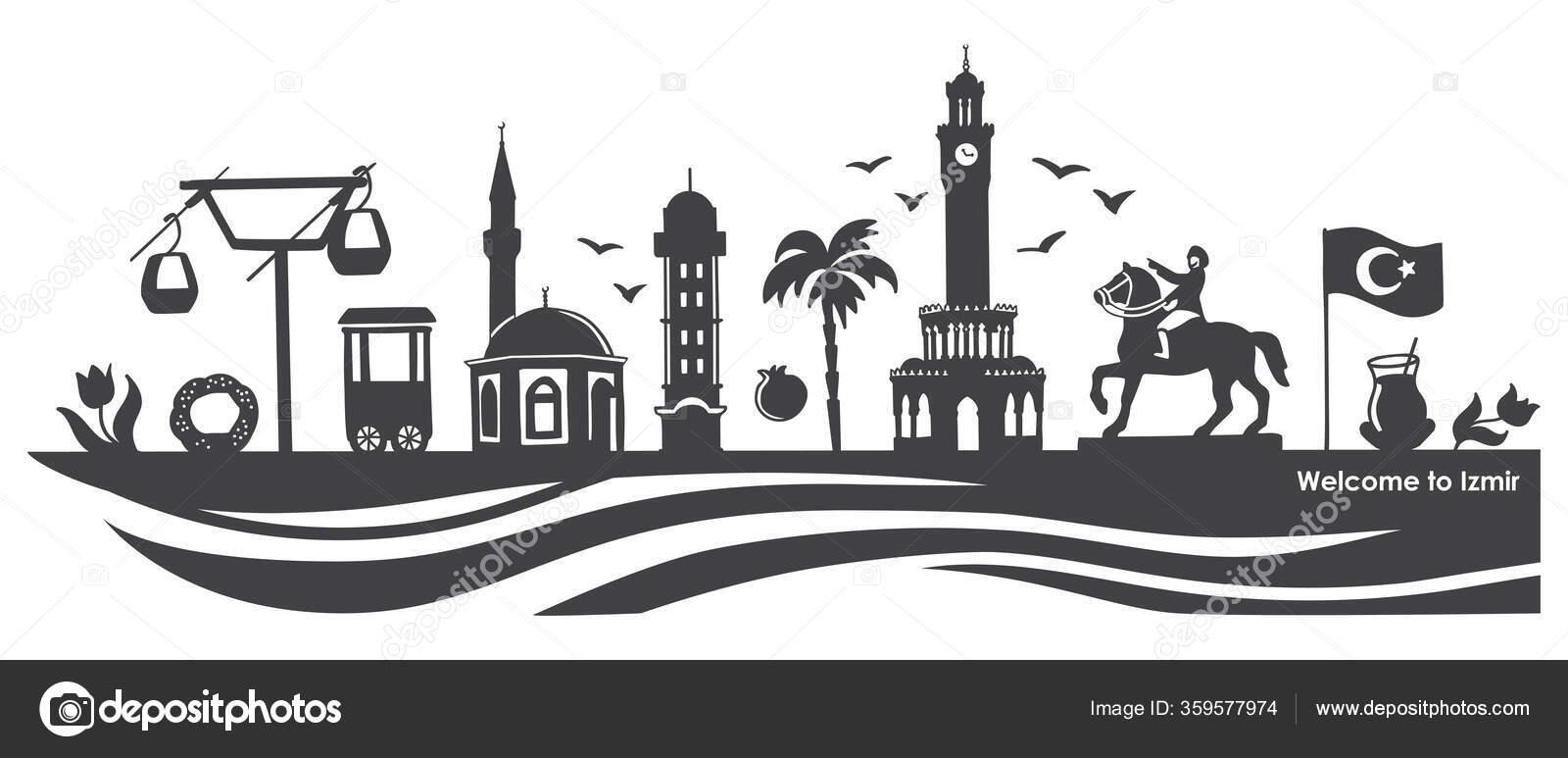 Vector Illustration Izmir Landmarks Famous Turkish Symbols Travel Turkey Concept Stock Vector C Aninata 359577974