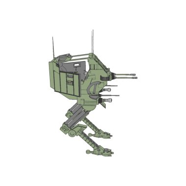 Sci-fi mecha soldier standing. Military futuristic robot