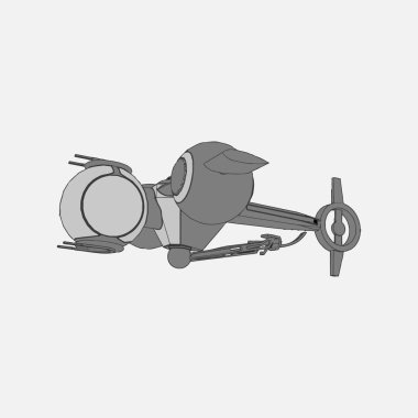 Vector illustration. Spaceship in isolated background.