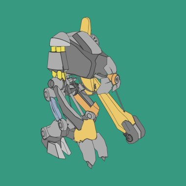 Vector illustration. Mecha in isolated background. For t-shirt design, poster, sticker.