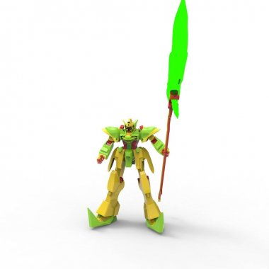 Sci-fi mech soldier standing on a white background. Military futuristic robot with a green and gray color metal. Mech controlled by a pilot. Scratched metal armor robot. Mech Battle. 3D rendering