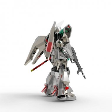 Sci-fi mecha soldier standing. Military futuristic robot. Mecha controlled by a pilot