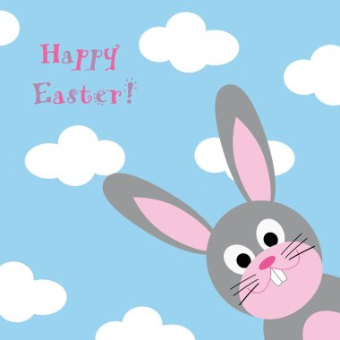 Happy Easter with fun grey rabbit and blue sky