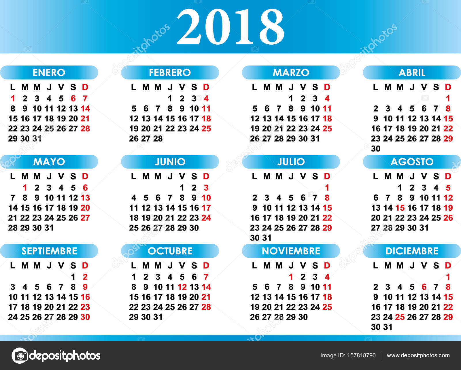 spanish calendar 2018 with festivities stock vector