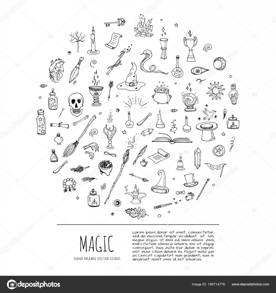 Magic icons set stock vector natashapankina 166714776 hand drawn doodle magic set vector illustration wizardy witchcraft symbols isolated icons collections cartoon sorcery concept elements magic wand love buycottarizona