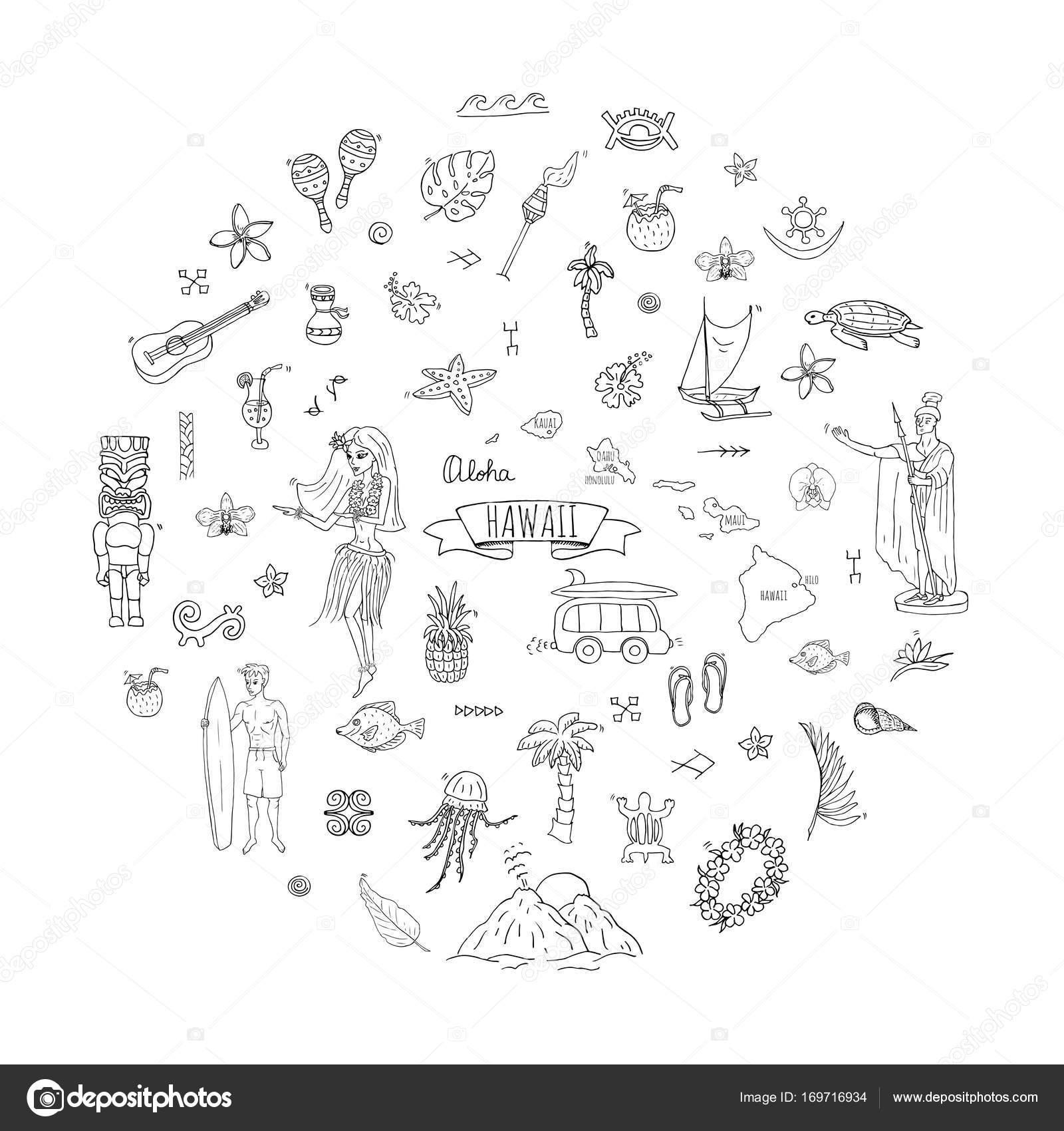 Simbolos Hawaianos Y Sus Significados Conjunto De Iconos De Hawaii