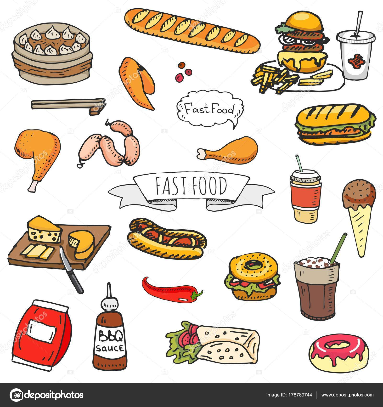 Hand Drawn Doodle Fast Food Icons Set Vector Illustration