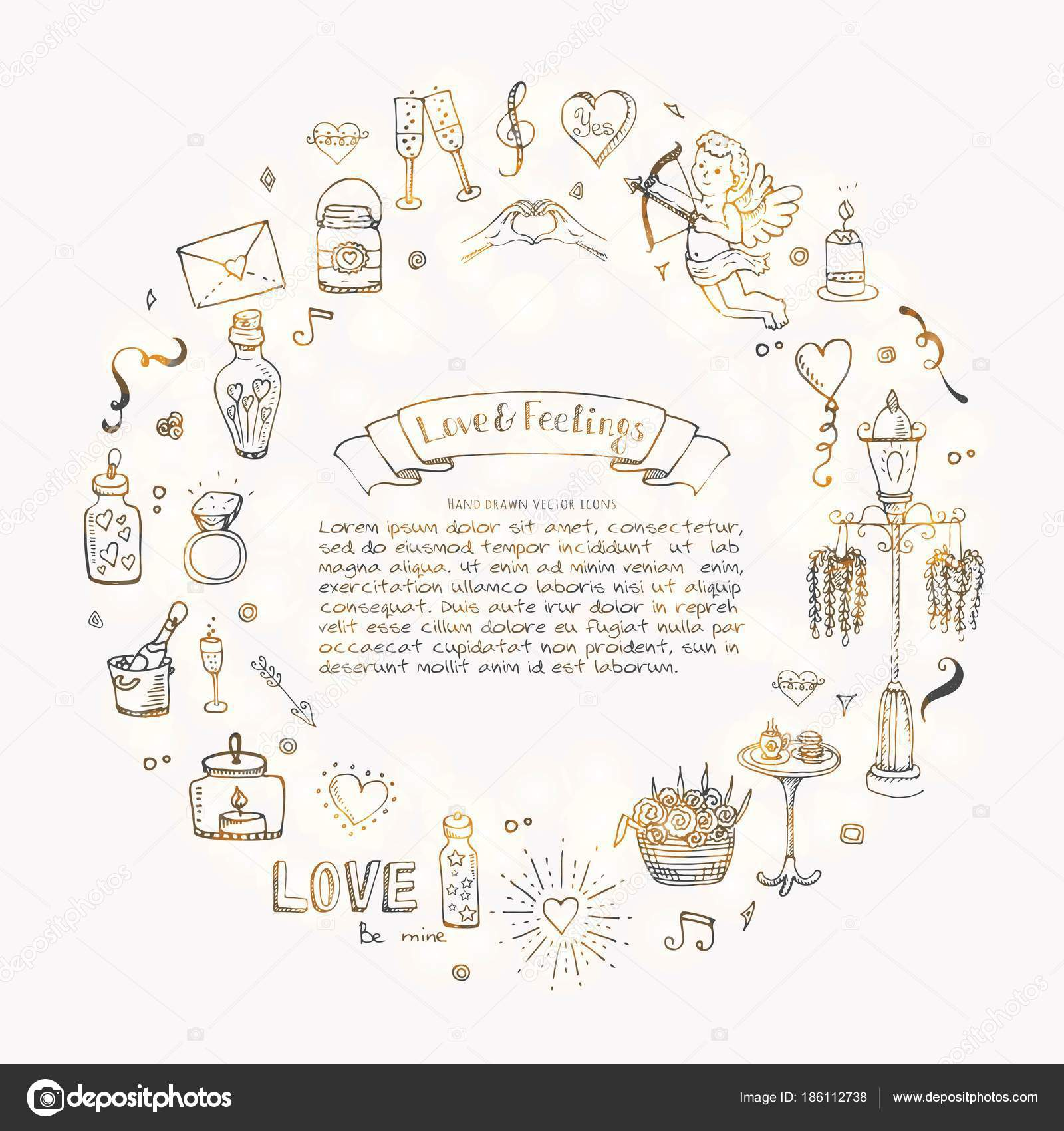 Hand Drawn Doodle Love Feelings Collection Vector