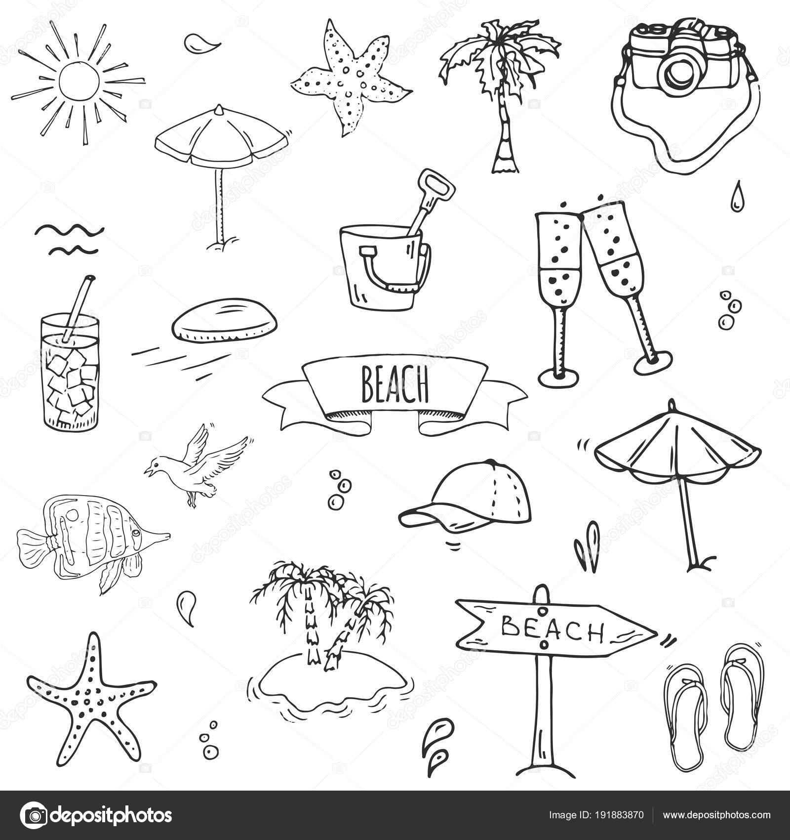 Objetos Playa Para Colorear Dibujado Mano Doodle Playa Set Iconos