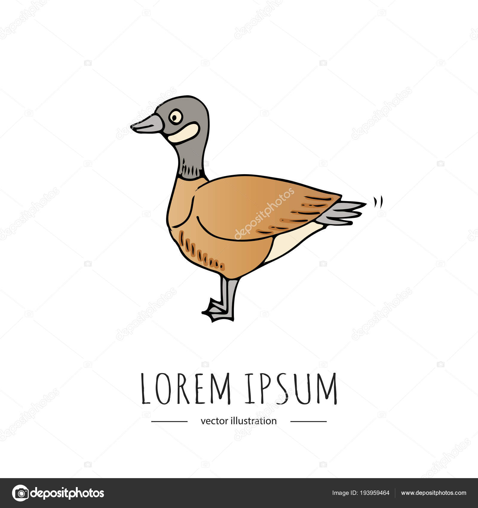 Hand Drawn Doodle Canadian Goose Icon Vector Illustration Isolated