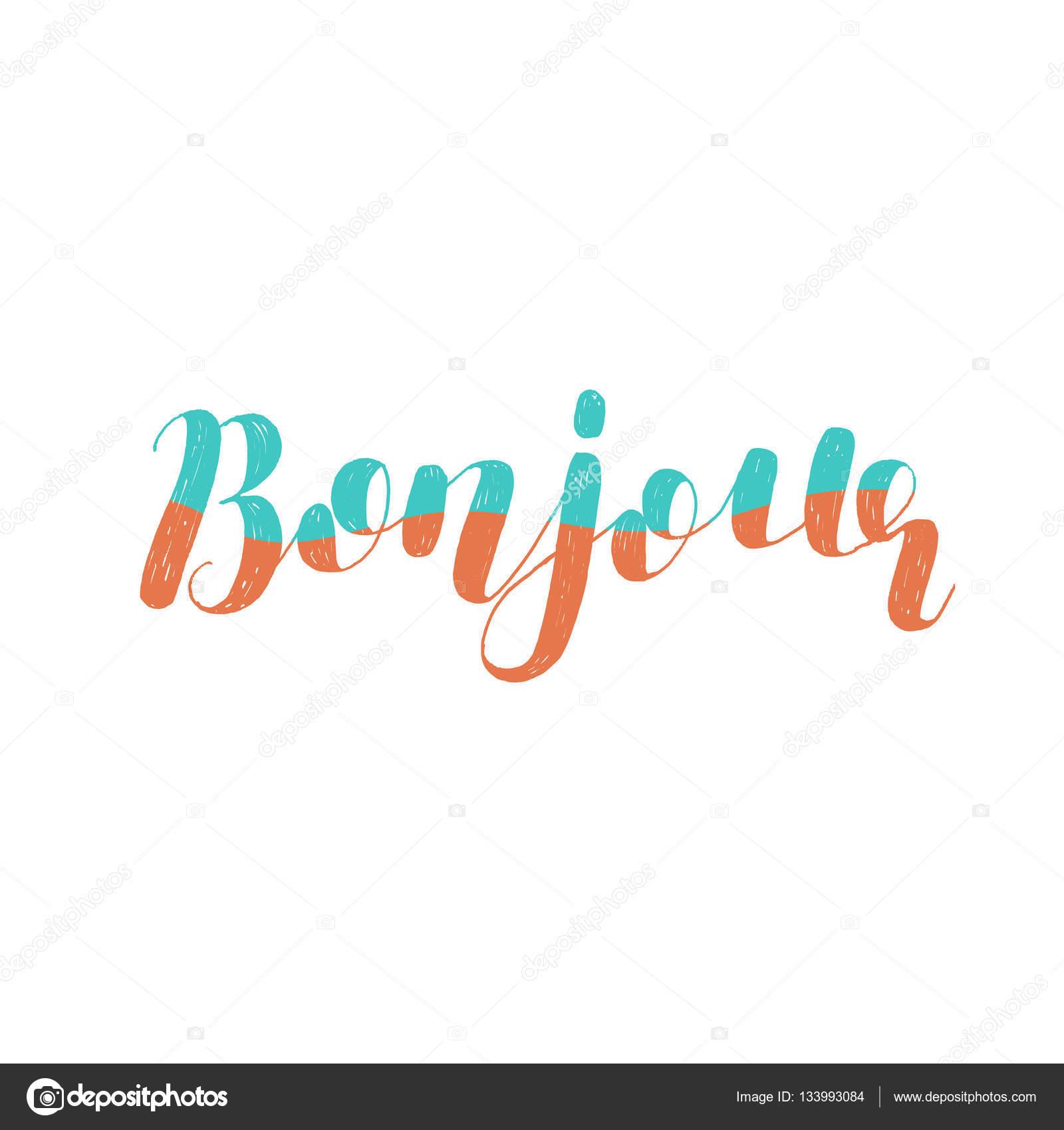 Bonjour кисть надпись векторные иллюстрации векторное