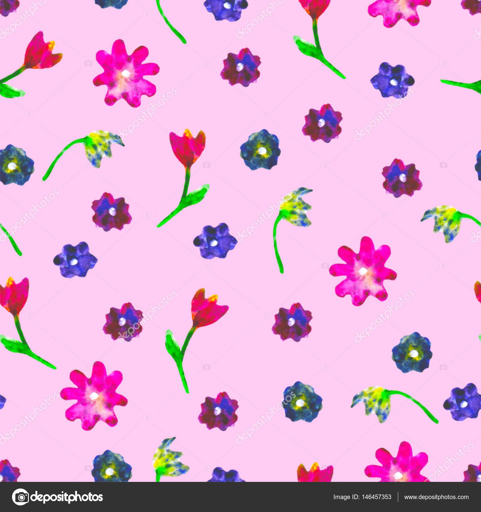 padrão de aquarela sem emenda ovos coloridos e flores sobre fundo