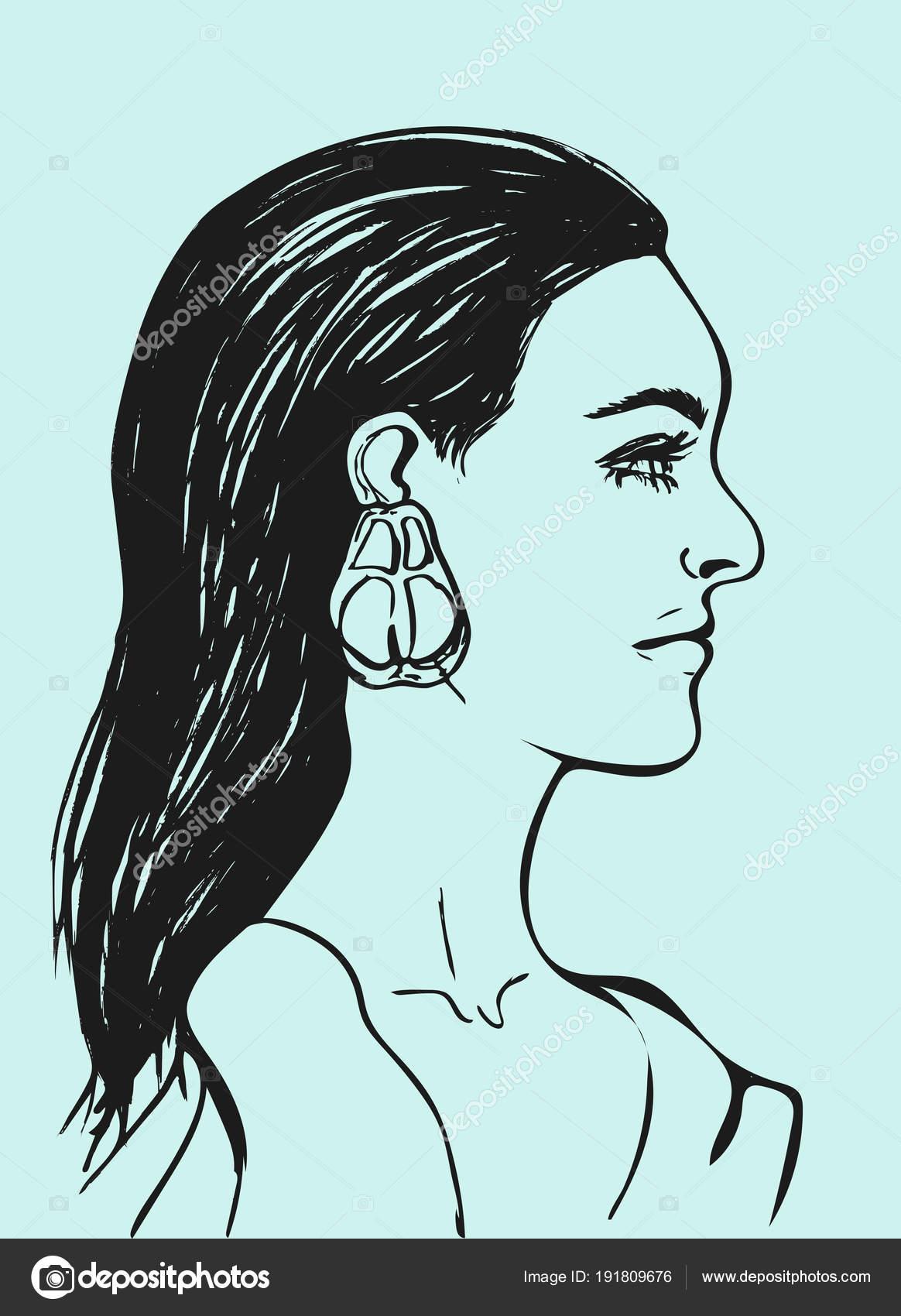 Belle Femme Aux Longs Cheveux Noirs Visage De Femme De Profil
