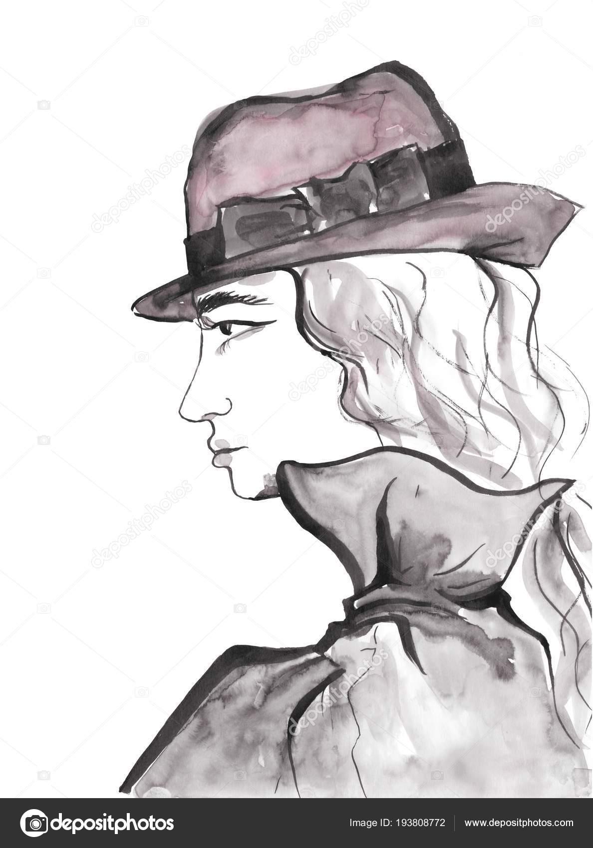 Belle Fille Visage Profil Portrait Dame Avec Chapeau