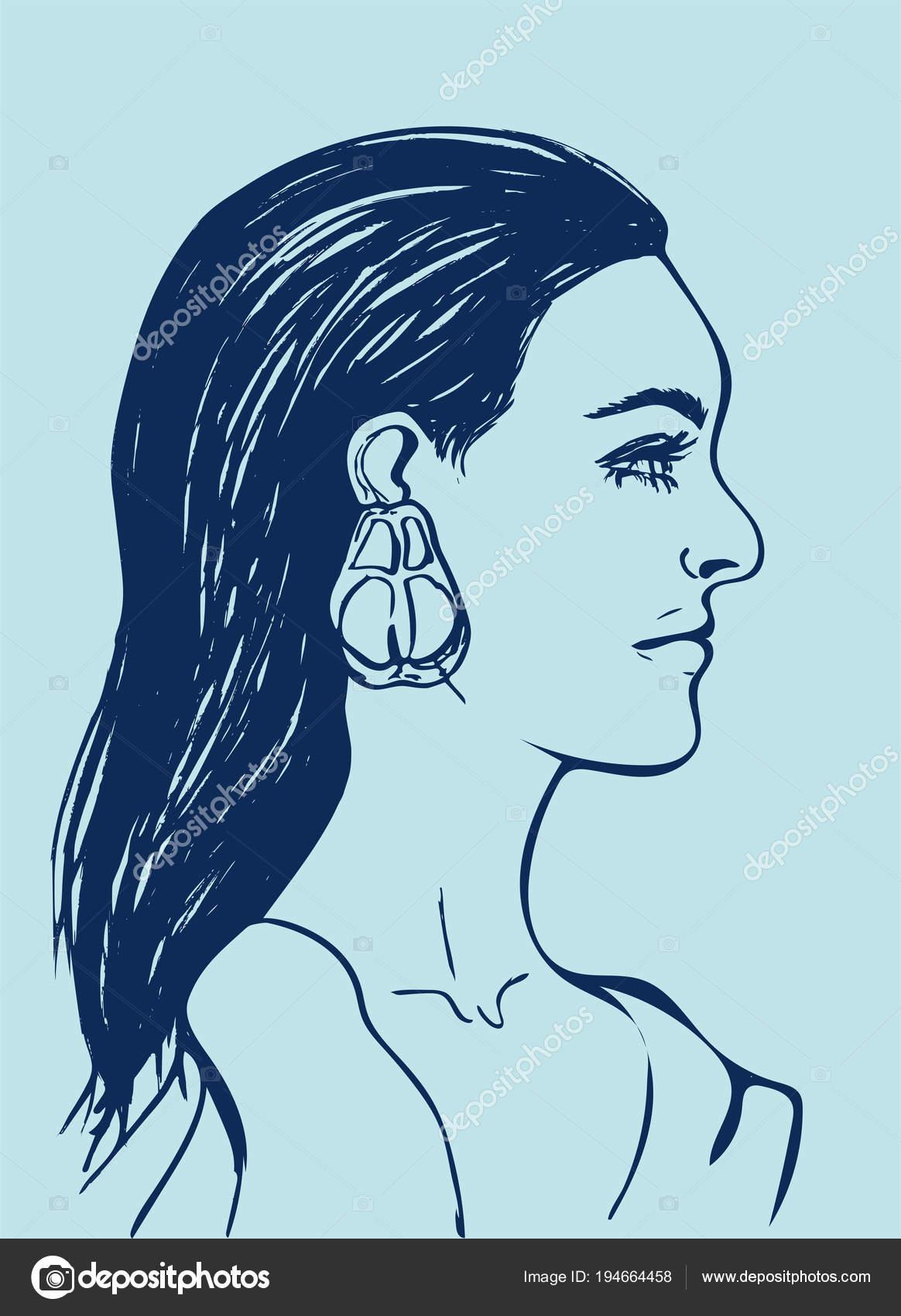 Belle Femme Aux Longs Cheveux Noirs Visage De Femme De