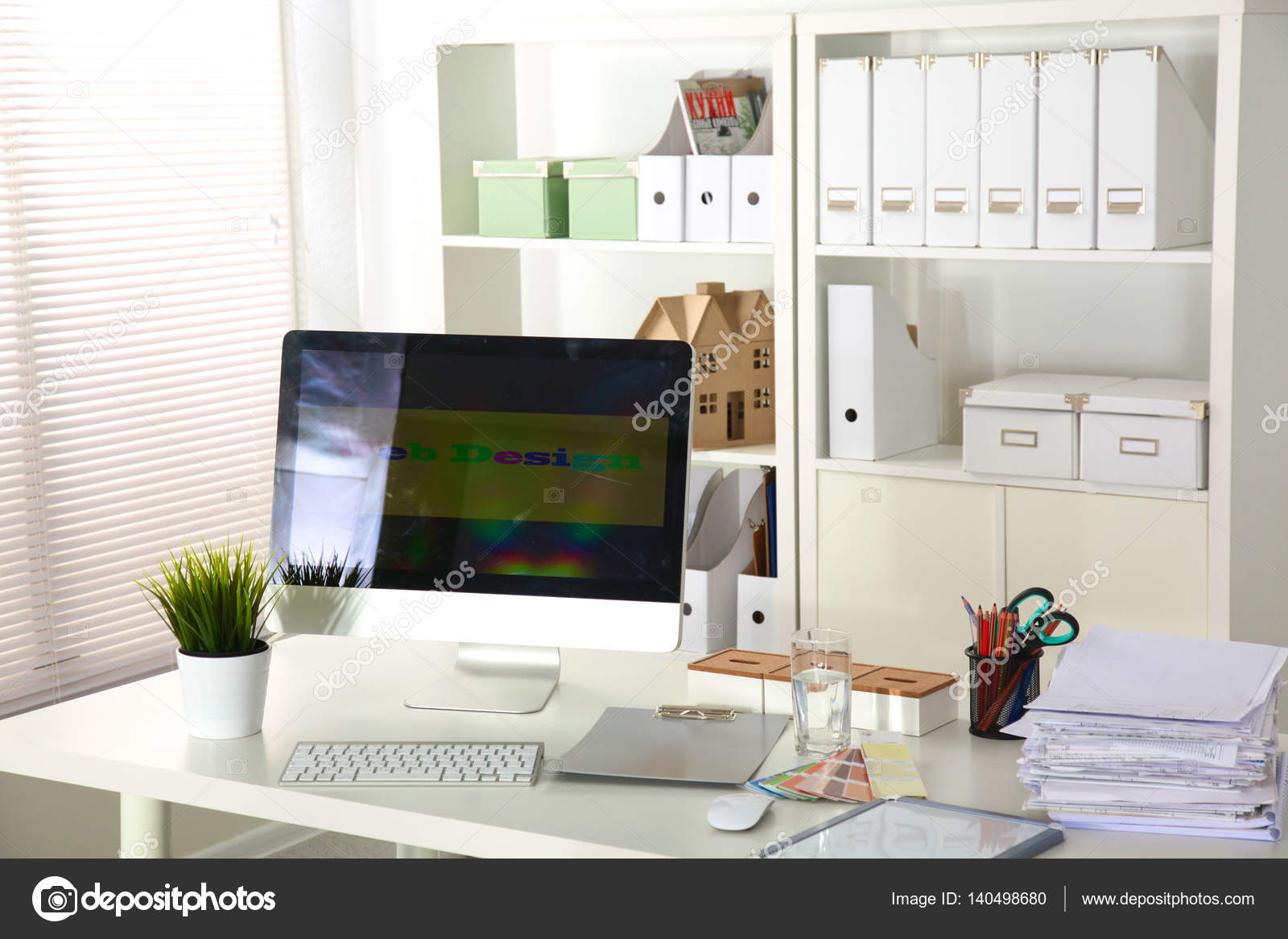 office desk with a computer and stack of papers — Stock Photo ...