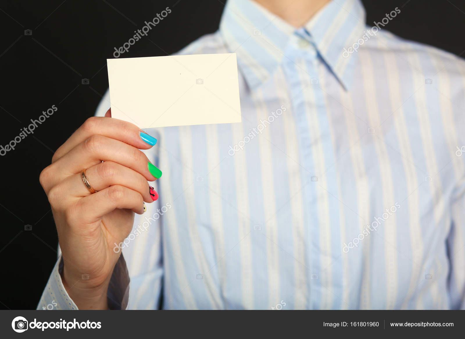Jeune Femme Fille Tend De Carte Visite Images Stock Libres Droits