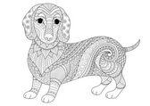 Zendoodle design jezevčík štěně pro dospělé obarvení kniha a T tričko design. Burzovní vektor