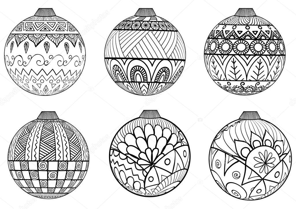 Mano dibujada estilo de zentangle bolas de Navidad para colorear ...
