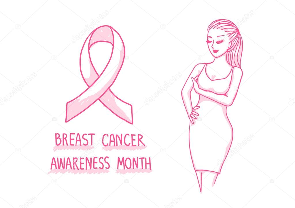 Hand drawn pink lady touching and trying to aware breast cancer gesture with pink ribbon and text BREAST CANCER AWARENESS MONTH