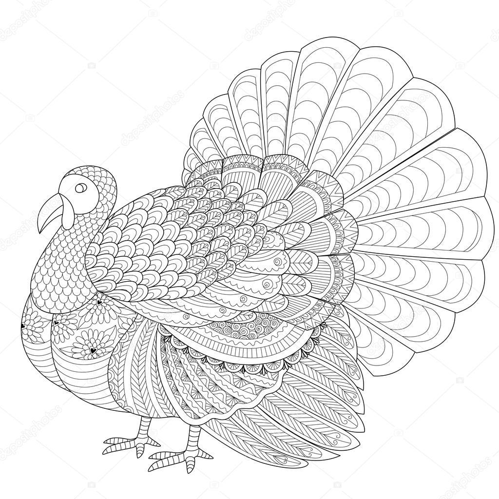 Turquía detallada zentangle para colorear página para adulto ...