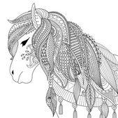 Fényképek Zendoodle design-a ló a felnőtt kifestőkönyv a anti-stressz