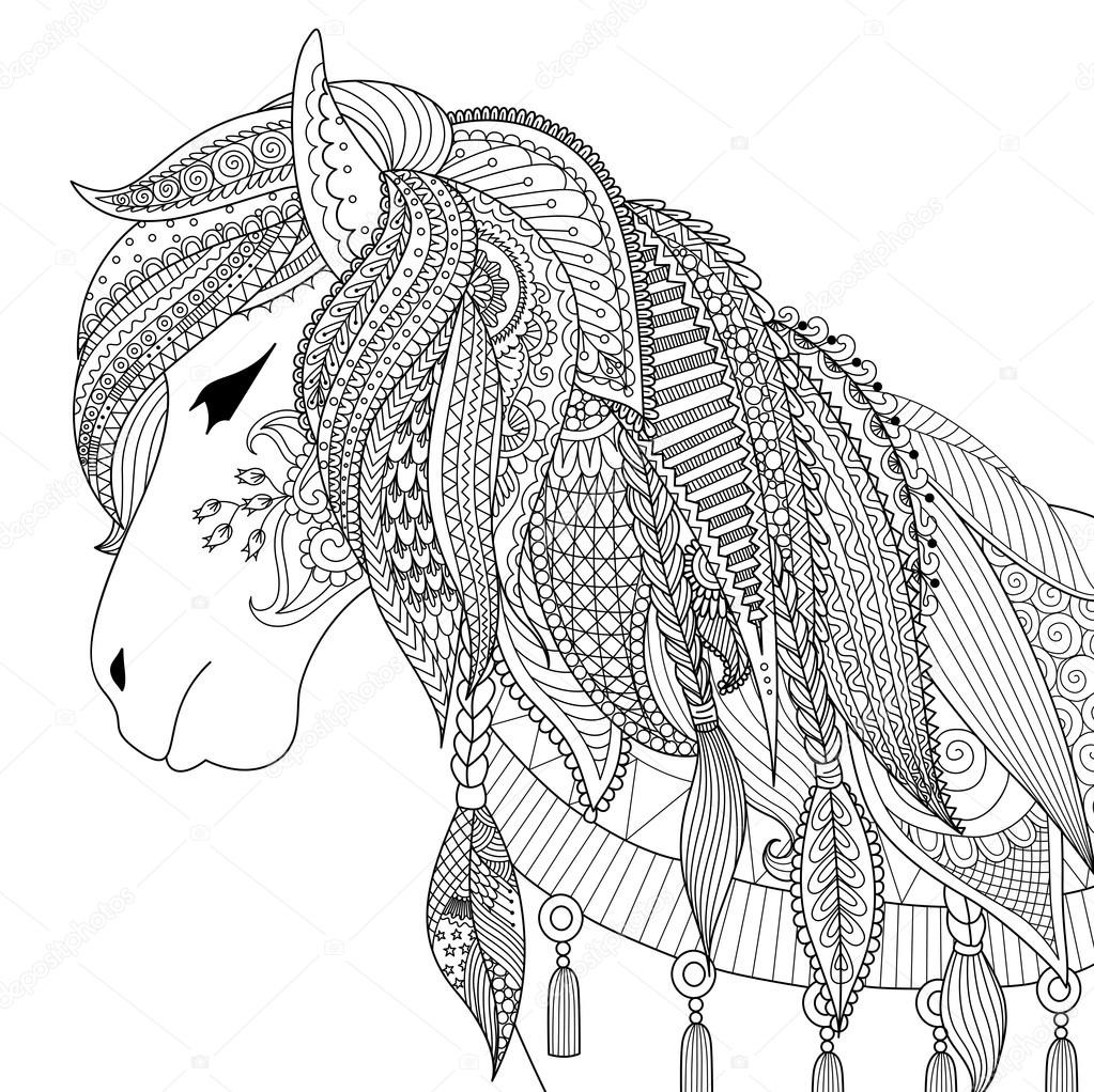 Zendoodle Design Of Horse For Adult Coloring Book For Anti
