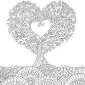 Fotografie Květy ve tvaru srdce na květinové země čárová grafika design pro vybarvování omalovánek pro dospělé, tetování, T - košile grafiky, karty a tak dále