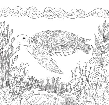 Zendoodle design of turtle