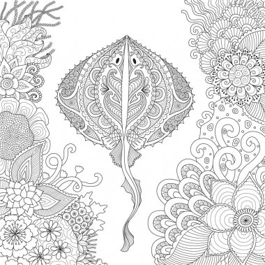 Zendoodle of Stingray swimming among beautiful corals under water world for adult coloring book pages - Stock Vector