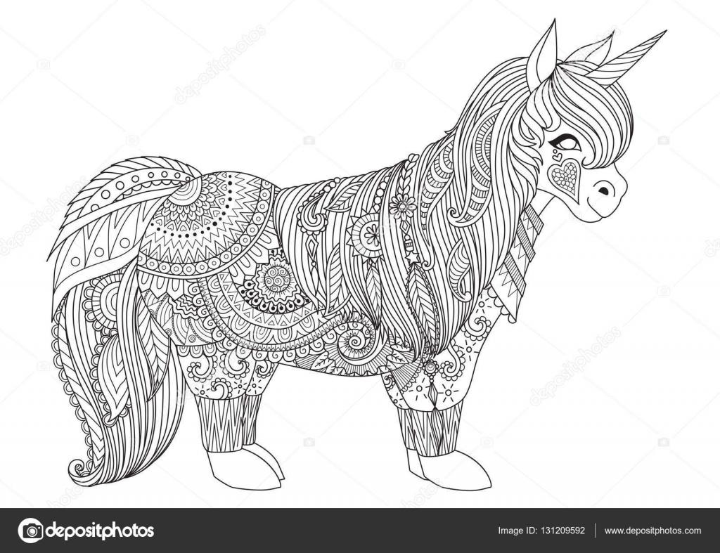 Zentangle inspiró el diseño de feliz pequeño pony para colorear ...