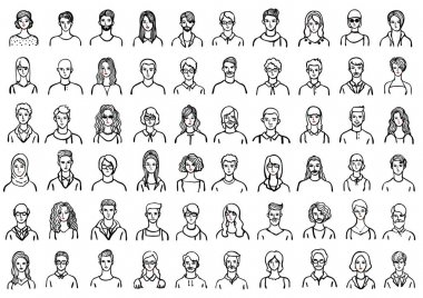Big set of hand drawn avatars on white background for both web and print