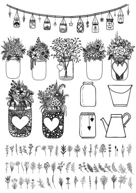 Big set of mason jars and wild flowers for design element for wedding cards,gift cards,Valentine's card and so on. Stock Vector