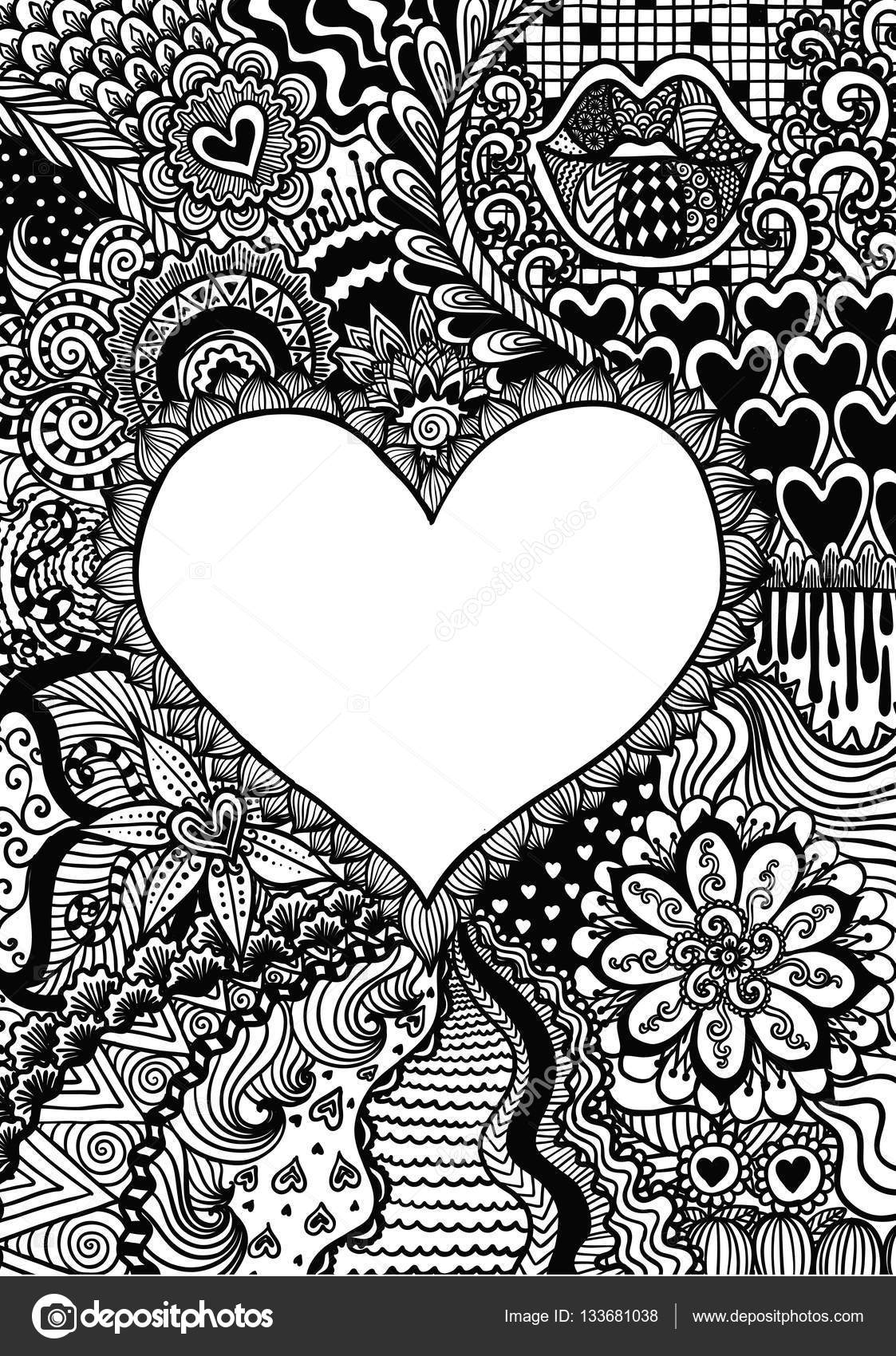 Zendoodle Design Of Heart Shape On Abstract Line Art Background For Backgroundwedding Carddesign Element And Adult Coloring Book Anti Stress