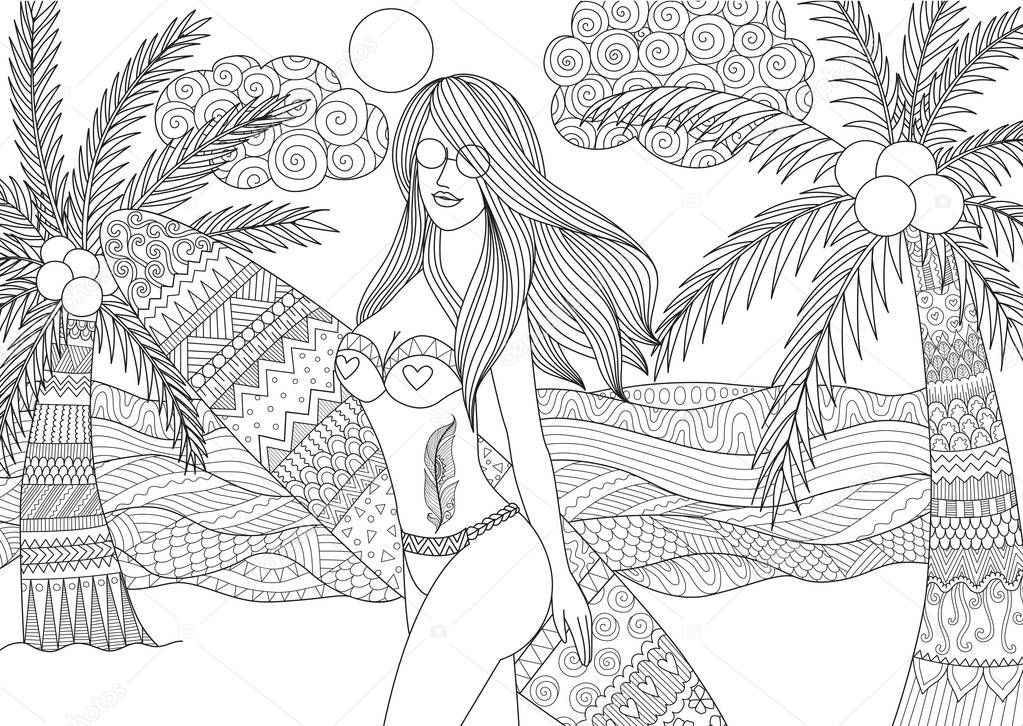 Zentangle design of sexy girl holding surfboard walking on the beach with wavy sea and coconut trees for adult coloring book pages