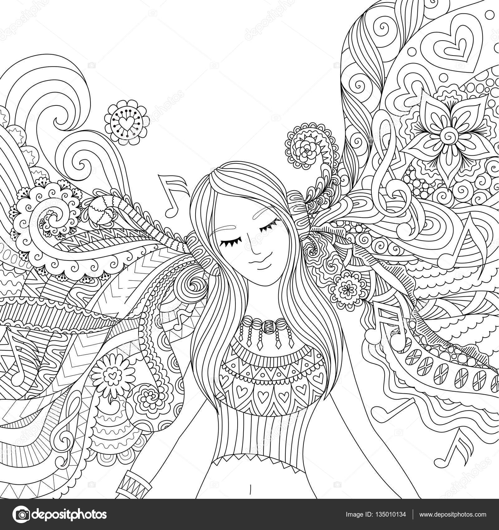 Girl listen to music adult coloring book — Stock Vector ...