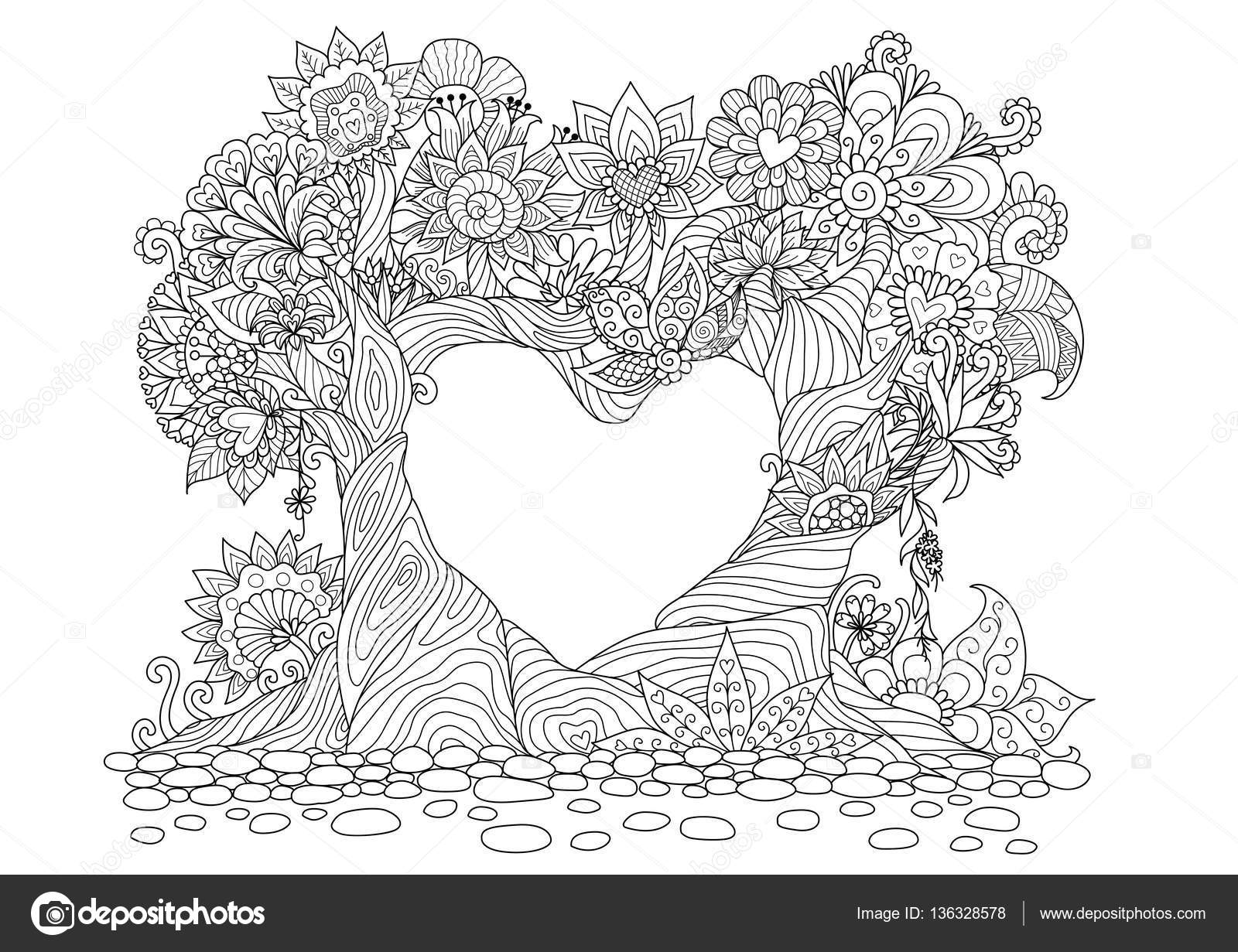 adult coloring book with two trees — Stock Vector © somjaicindy ...