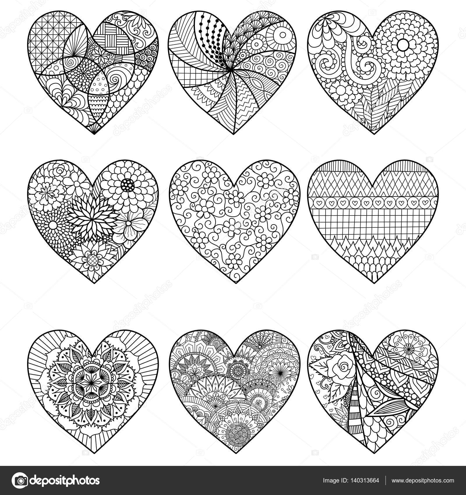 Nine Zendoodle Hearts For Adult Coloring Book Pages Stock Vector C Somjaicindy Gmail Com 140313664