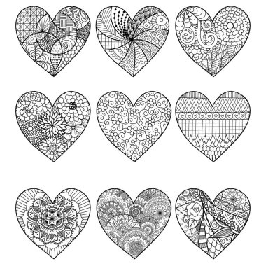 Nine zendoodle hearts for adult coloring book pages