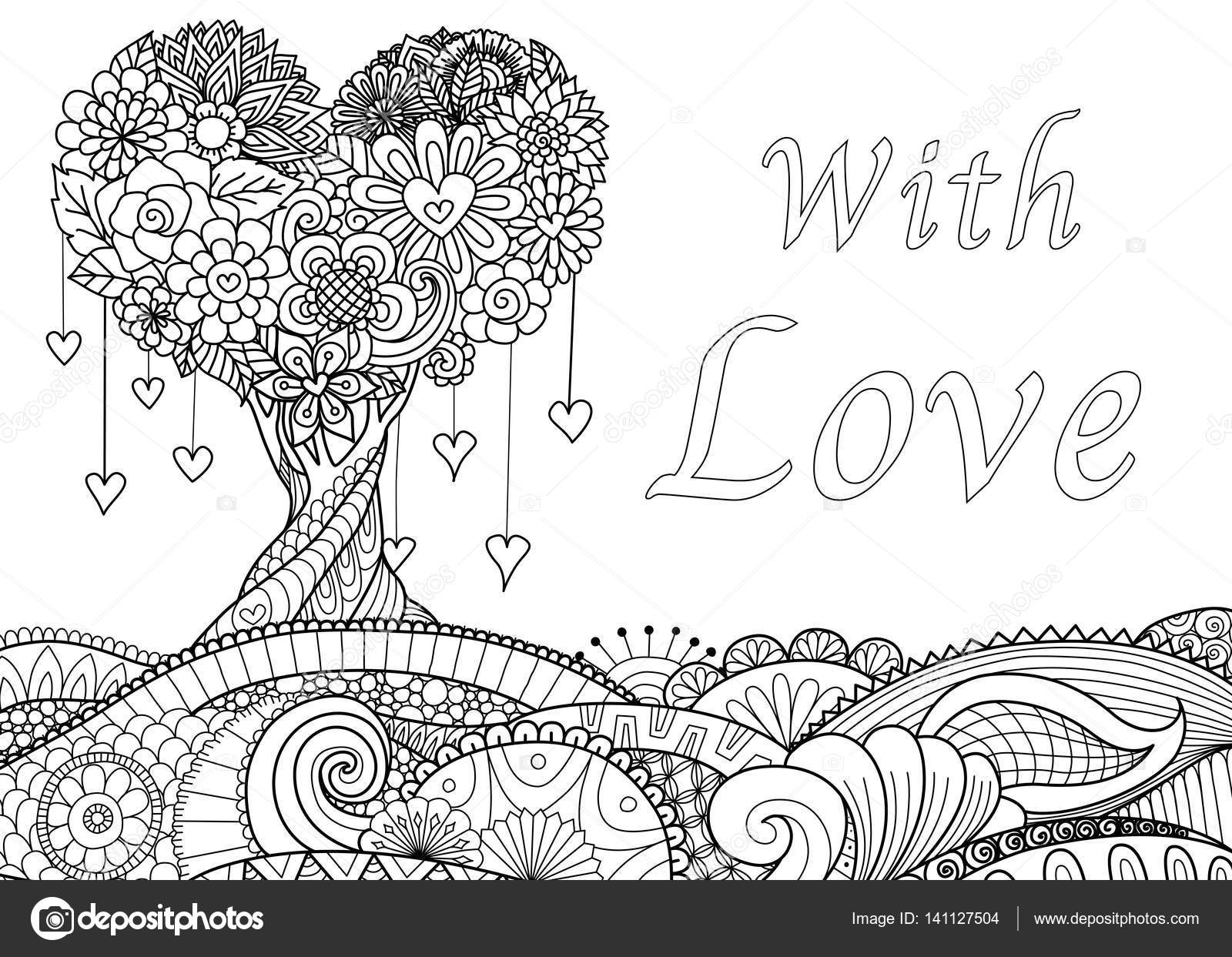 love tree on floral ground for coloring book pages