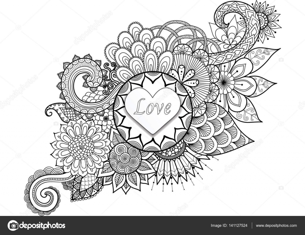 heart shape with the word u0027love u0027 on floral background for